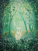 tableau paysages toile feerique univers de l en vert blanc orange 35 x 27 : l'apparition