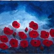 tableau fleurs coquelicots champs bleu rouge : Coquelicots 1