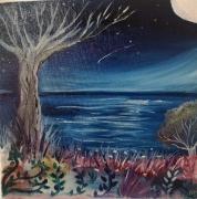 tableau paysages toile 20 x 20 toil toile poetique un peinture ,a l hu petit tableau : Le voeux