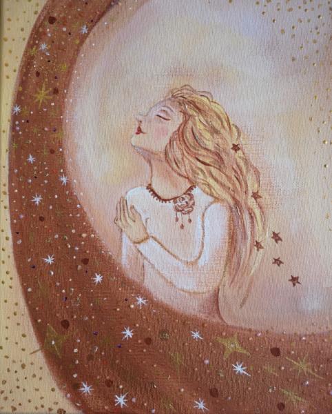 TABLEAU PEINTURE étoile chemin de vi visage féminin, étoile filante Personnages Acrylique  - Croire en son étoile