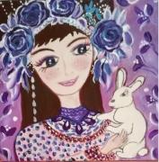 tableau personnages petit fille lapin blanc art naif toile enfant : Mon petit lapin