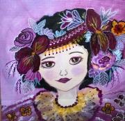 tableau personnages portrait enfant petite fille portrait art naif : Daphnée