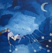 tableau personnages petite fille etoiles ciel toile tendresse pour enfant : La petite semeuse d'étoiles