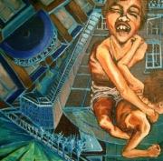 tableau architecture nu ville architecture corps : Les frères Siam