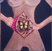 tableau nus papillon femme surrealisme : Chrysalide