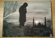 tableau scene de genre bicolore noir et blanc personnage : Réflexion