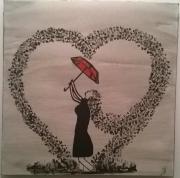 tableau personnages femme rouge noir et blanc : The red umbrella