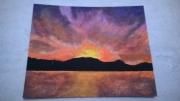 tableau paysages montagne coucher de soleil nuage : Le coucher