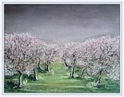 tableau paysage pommiers : POMMIERS BLANCS