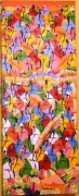 tableau scene de genre paysage art naif haiti peinture art naif toile naive : Les Marchandes
