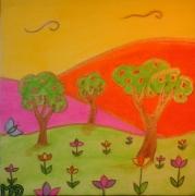 tableau paysages printemps fleurs naif : Printemps
