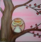 tableau animaux chouette oiseau deco chambre enfant original : La petite chouette