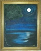 "tableau paysages nuit lune reflet : ""Visite"""