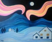 tableau paysages nuit aurore boreale naif bleu : Nuit Boréale
