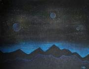 """tableau paysages nuit planetes lueur : """"Origine"""""""