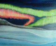 tableau paysages aurore boreale lumiere nuit : Aurore Boréale II