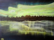 tableau paysages aurore boreale nuit vert et noir reflets : Aurore Boréale