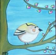 tableau animaux roitelet oiseau decoration cadeau : Le Roitelet
