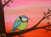 tableau animaux mesange oiseau chambre enfant deco : Mésange