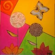 tableau fleurs fleurs papillon collage printemps : Papillon