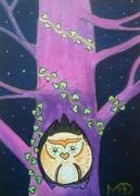 tableau animaux chouette nuit decoration chambre d enfan : Chouette by night