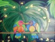 tableau animaux inseparables oiseaux deco oiseau lovebirds : Les Inséparables