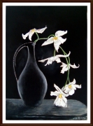 tableau nature morte orchidee vase fleur : L'Orchidée de minuit