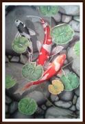 tableau animaux koi poisson nenuphars carpe : Sous les nénuphars 2