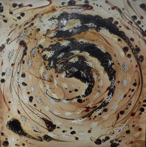 TABLEAU PEINTURE automne feuilles tourbillons abstrait Abstrait Acrylique  - Ronde monAUTOMNE