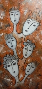 tableau personnages tetes portraits visages abstrait : Je, tu, il