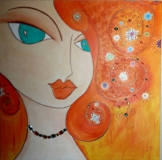 tableau personnages portrait blingbling diamants oriental : Esmeralda