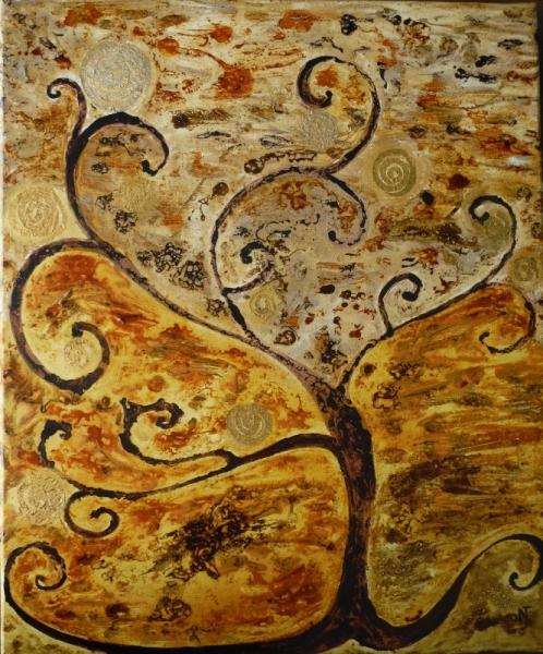 """TABLEAU PEINTURE arbre automne abstrait Paysages Acrylique  - ARTBRE """"Automne"""""""