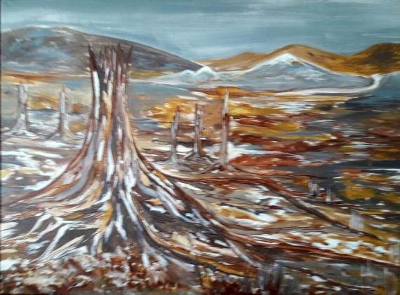 """TABLEAU PEINTURE deforestation nature arbre tronc Paysages Acrylique  - deforestation """"Quand la nature meurt en silence"""""""