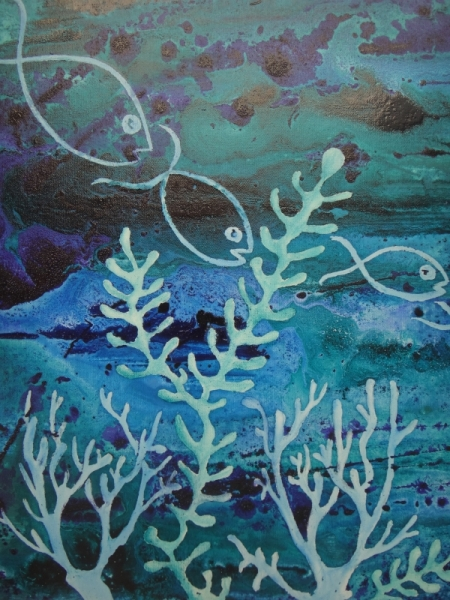 TABLEAU PEINTURE poisson mer coraux fonds marins Abstrait  - 3 poissons