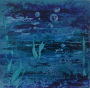 tableau abstrait poisson mer ocean algues : EAUxygène