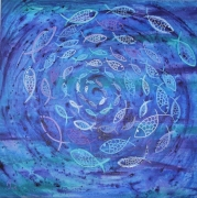 tableau abstrait poissons ocean fons marins mer : EAUrigine