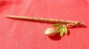 bois marqueterie fruits amande pic ,a cheveux vert : Pic à cheveux