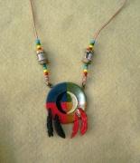 bijoux autres marqueterie amerindien collier bouclier : Amérindien