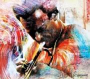 tableau personnages jazzmen trompettiste musique le cool : Miles Davis