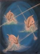 tableau animaux dauphins ocean l eau mer : la danse des dauphins