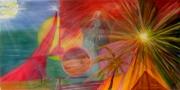 tableau abstrait le temps pyramide soleil eclaire : le temps