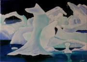 tableau paysages glaces fondre ocean eau : ICE BERG
