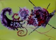 tableau abstrait jaune rouge noir blanc : imaginaire