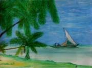dessin : Pêcheurs  mauricien (ile-Maurice)
