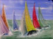 tableau sport voile baeteaux mer course : VOILE