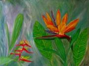 tableau fleurs fleures tropicale verte nature : FLEURE OISEAU