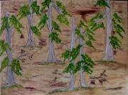 tableau nature morte foret sable arbres : Forêt sablée