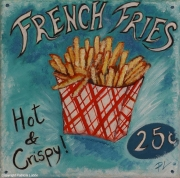 """tableau autres frites fastfood vintage plaque : french fries """"hot and crispy"""""""