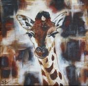 tableau animaux girafon girafe savane afrique : Girafon