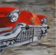 tableau autres voiture collection americaine vintage : Cadillac rouge